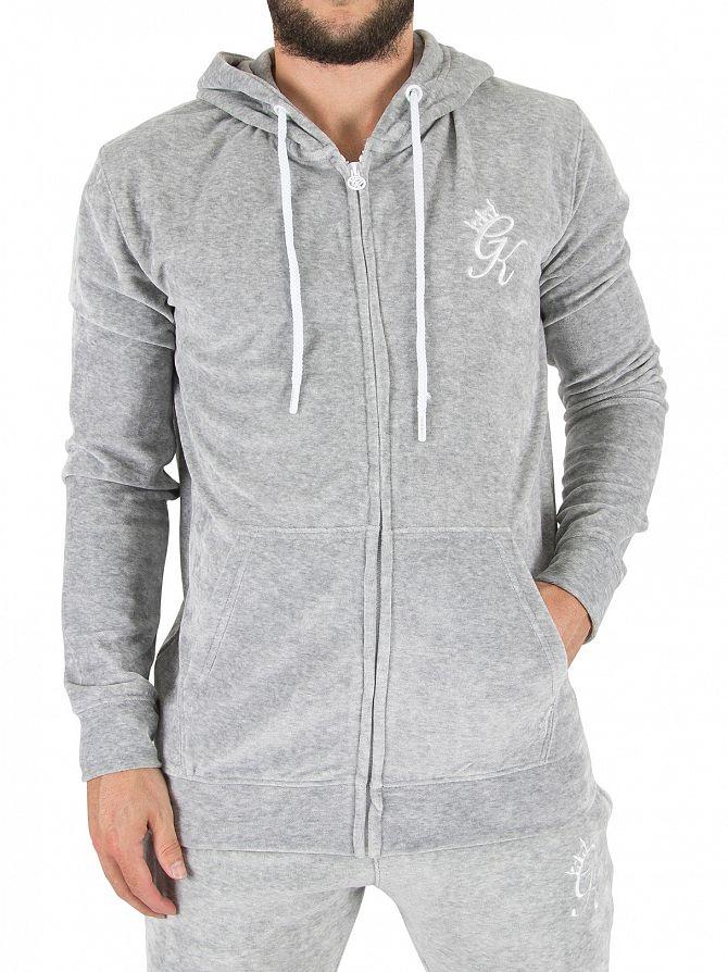 Gym King Grey Velour Marled Zip Logo Hoodie