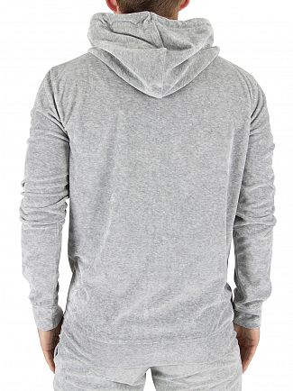 Gym King Grey Velour Marled Zip Logo Hoodie