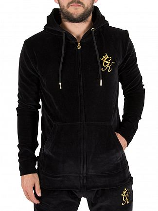 Gym King Black Velour Zip Logo Hoodie