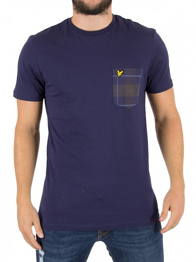Lyle & Scott Navy Check Pocket Logo T-Shirt