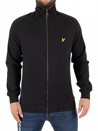 Lyle & Scott True Black Funnel Neck Zip Logo Jacket