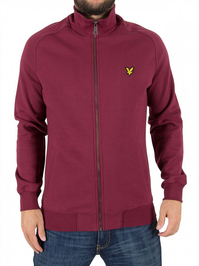 Lyle & Scott Claret Jug Funnel Neck Zip Logo Jacket