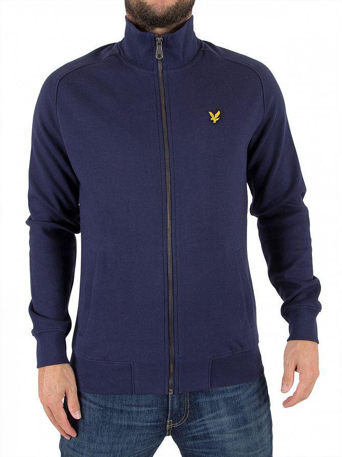 Lyle & Scott Navy Funnel Neck Zip Logo Jacket