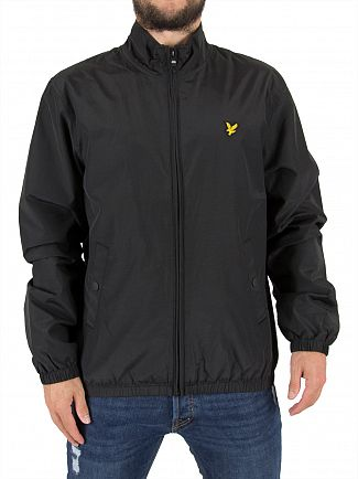 Lyle & Scott True Black Funnel Zip Through Logo Jacket