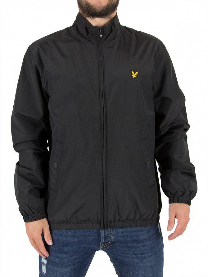 Lyle & Scott True Black Funnel Zip Through Logo Jacket