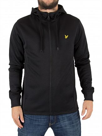 Lyle & Scott True Black Hooded Tricot Logo Jacket