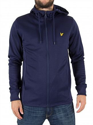 Lyle & Scott Navy Hooded Tricot Logo Jacket