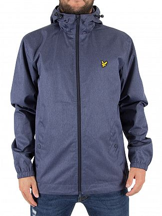 Lyle & Scott Ink Blue Marl Zip Through Hooded Logo Jacket