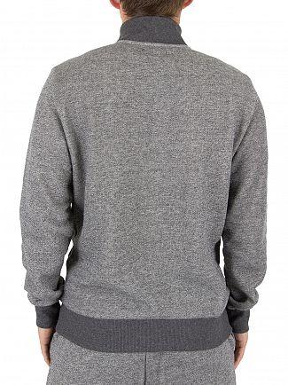 Emporio Armani Grey Marled Half Zip Logo Loungewear Top