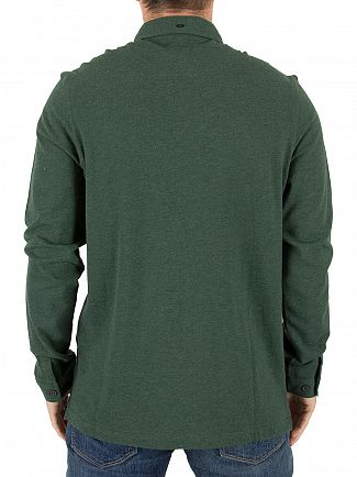 Farah Vintage Cilantro Marl Merriweather Longsleeved Logo Polo Shirt