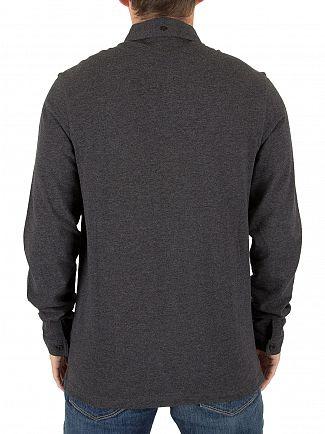 Farah Vintage Dark Asphalt Marl Merriweather Longsleeved Logo Polo Shirt