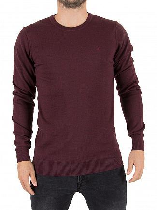 J Lindeberg Dusty Burgundy Lyle True Merino Logo Knit