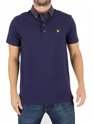 Lyle & Scott Navy Check Woven Collar Logo Polo Shirt