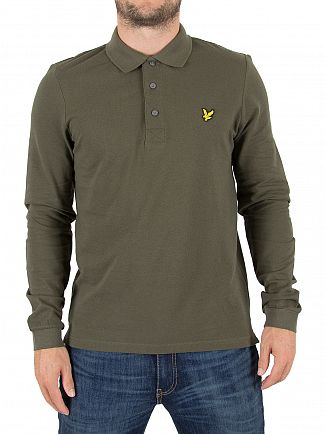 Lyle & Scott Olive Longsleeved Logo Polo Shirt
