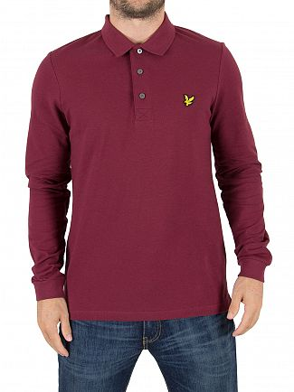 Lyle & Scott Claret Jug Longsleeved Logo Polo Shirt
