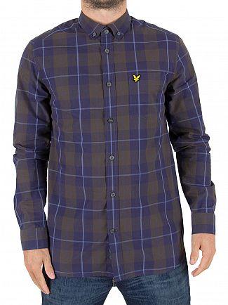 Lyle & Scott Navy Poplin Check Logo Shirt