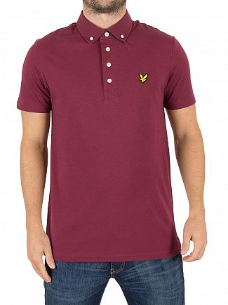Lyle & Scott Claret Jug Woven Collar Logo Polo Shirt