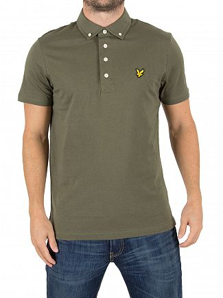 Lyle & Scott Olive Woven Collar Logo Polo Shirt