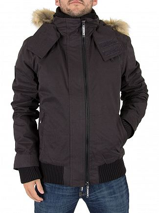 Superdry Black Microfibre Logo Windbomber Jacket
