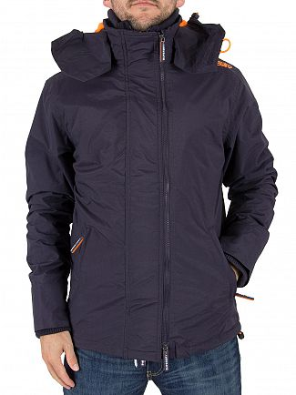 Superdry Deep Marine/Emergency Orange Pop Zip Hood Arctic Windcheater Jacket