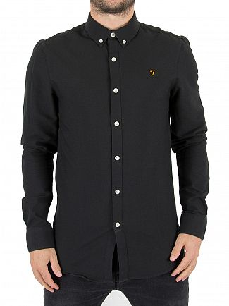 Farah Vintage Black Ink Brewer Slim Logo Shirt