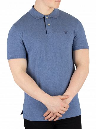 Gant Denim Blue Mel Contrast Collar Logo Polo Shirt