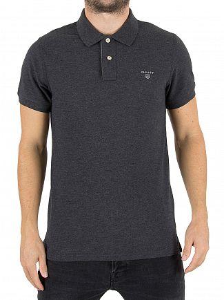 Gant Dark Antracit Melange Contrast Collar Logo Polo Shirt