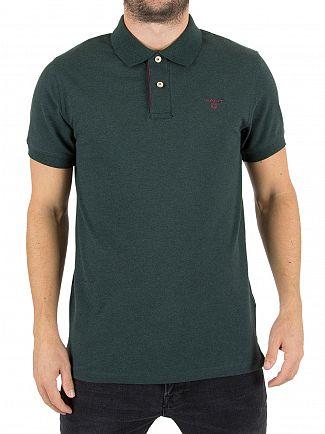 Gant Tartan Green Melange Contrast Collar Logo Polo Shirt