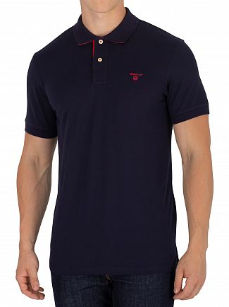 Gant Evening Blue Contrast Collar Logo Polo Shirt