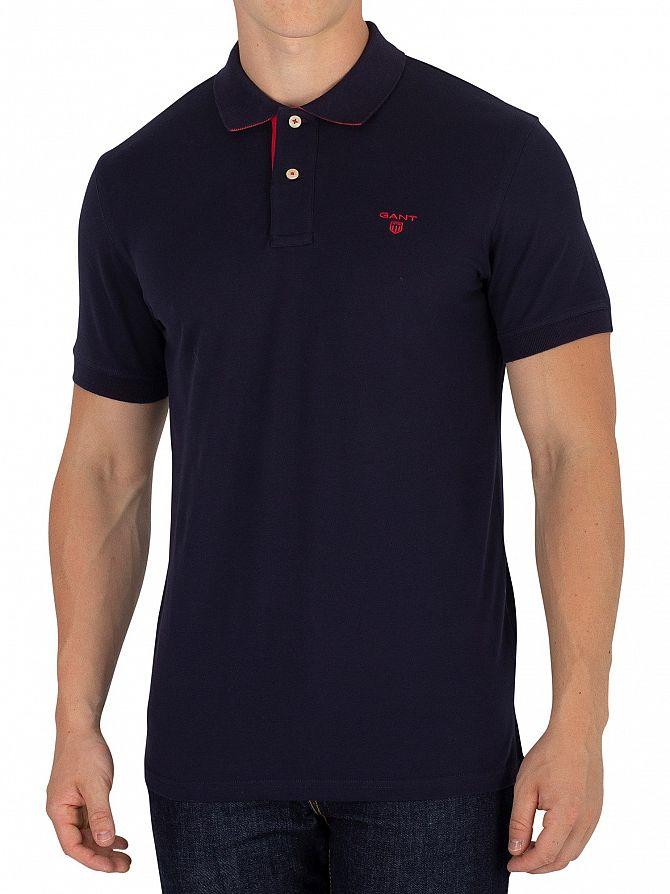 Gant Evening Blue Contrast Collar Logo Polo Shirt