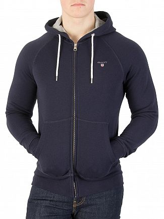 Gant Evening Blue Full Zip Logo Hoodie