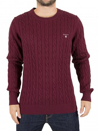 Gant Purple Wine Logo Cable Knit