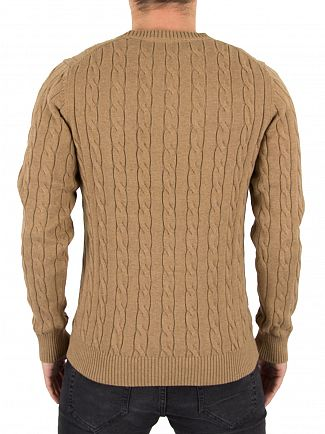 Gant Dark Sand Melange Logo Cable Knit