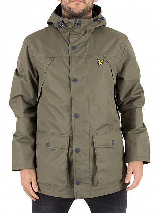 Lyle & Scott Olive Micro Fleece Lined Logo Jacket