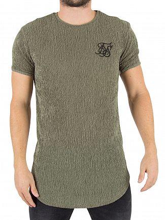 Sik Silk Khaki Ripple Textured Logo T-Shirt