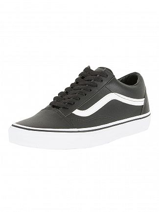 Vans Black/True White Old Skool Classic Leather Trainers