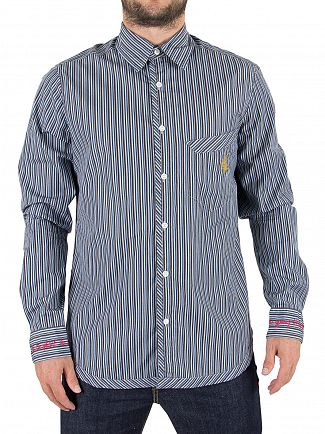 Vivienne Westwood Blue Stripes Classic Pocket Logo Shirt