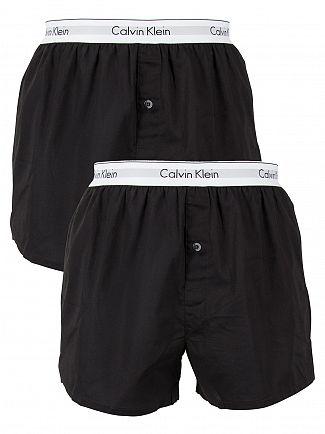 Calvin Klein Black/Black 2 Pack Logo Slim Fit Woven Boxers