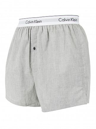 Calvin Klein Black/Grey Heather 2 Pack Logo Slim Fit Woven Boxers