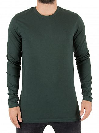 Diesel Green Justin Longsleeve Logo T-Shirt
