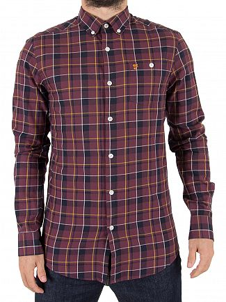 Farah Vintage Red Oldman Check Twill Shirt