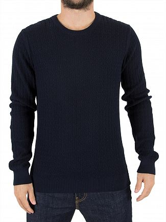 J Lindeberg Navy Hunt Wave Structure Knit