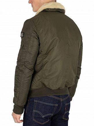 Schott Army Kaki Pilote Fur Collar Bomber Jacket