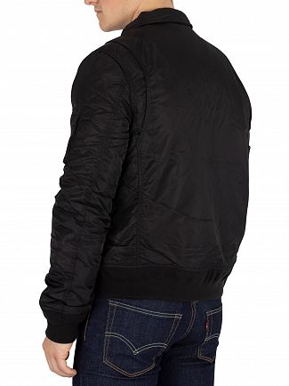 Schott Black Removable Badge Bomber Jacket