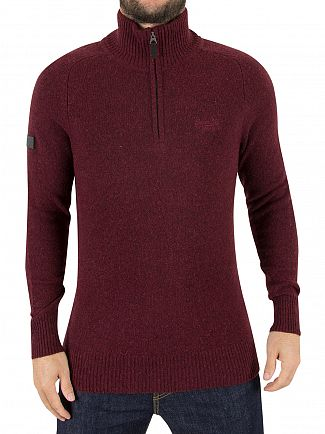 Superdry Sloe Berry Harlo Logo Half Zip Knit