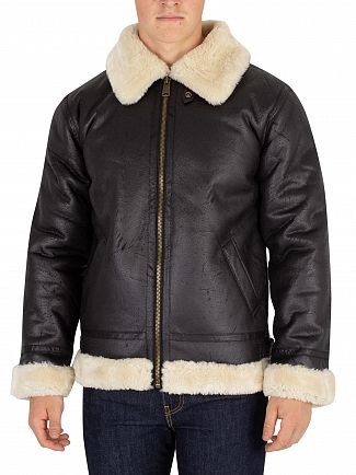 Alpha Industries Black B3 Fl Fur Collar Bomber Jacket