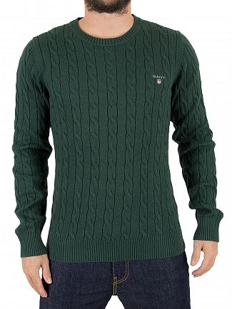 Gant Tartan Green Melange Cable Knit