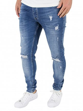 Gym King Mid Blue Spray On Distressed Denim Jeans
