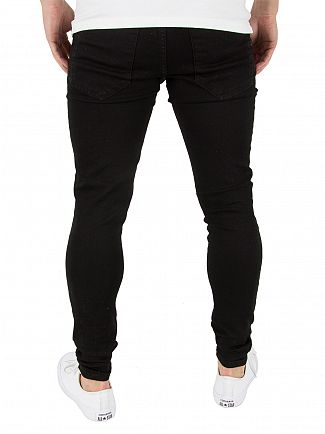 Gym King Black Spray On Distressed Denim Jeans