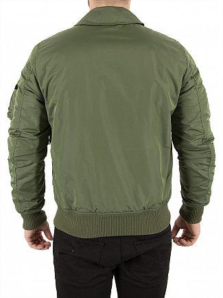 Alpha Industries Sage Green Collar Bomber Jacket